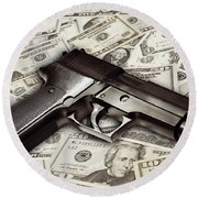 Gun On Cash Round Beach Towel