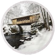 Gunstock Brook And Tannery Hill Bridge Round Beach Towel
