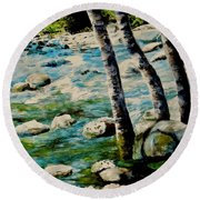 Round Beach Towel featuring the painting Gushing Waters by Sher Nasser
