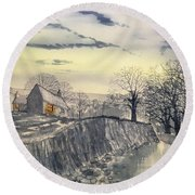 Hag Dyke By Moonlight Round Beach Towel