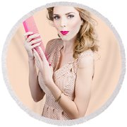 Hair Style Model. Pinup Girl With Large Pink Comb Round Beach Towel