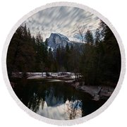 Half Dome Reflection Round Beach Towel