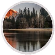 Half Dome Sunset In Winter Round Beach Towel
