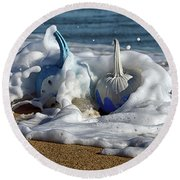 Round Beach Towel featuring the photograph Halloween Blue And White Pumpkins In The Surf by Bill Swartwout Fine Art Photography