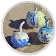 Round Beach Towel featuring the photograph Halloween Blue And White Pumpkins On A Dune by Bill Swartwout Fine Art Photography