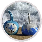 Round Beach Towel featuring the photograph Halloween Blue And White Pumpkins On The Beach by Bill Swartwout Fine Art Photography
