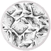 Hand Drawn Background Of Fresh Cambuci Fruits Round Beach Towel