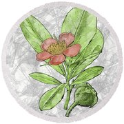 Hand Painted Salmon Pink Prairie Rose  Round Beach Towel