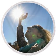 Round Beach Towel featuring the photograph Handful Of Sunshine by Carl Young