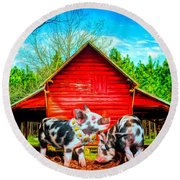 Happiness On The Farm Round Beach Towel