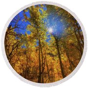 Round Beach Towel featuring the photograph Happy Fall by Tassanee Angiolillo