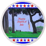 Happy Fourth Of July - A Scene From Fairhope Alabama Round Beach Towel