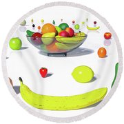 Happy Fruit Round Beach Towel