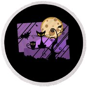 Happy Halloween Cat Round Beach Towel