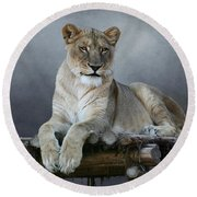 Happy Lioness Round Beach Towel