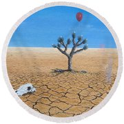 Round Beach Towel featuring the painting Happy Little Tree by Kevin Daly
