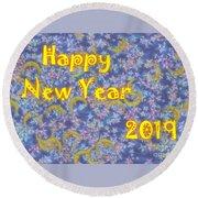 Happy New Year 2019 Round Beach Towel