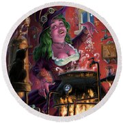 Happy Steam Punk Witch Round Beach Towel