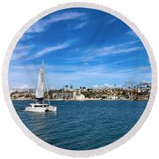 Harbor Sailing Round Beach Towel