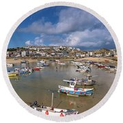 Harbour - St Ives Cornwall Round Beach Towel