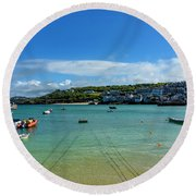 Harbour To Porthminster St Ives Cornwall Round Beach Towel