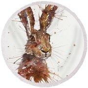Hare Portrait Round Beach Towel
