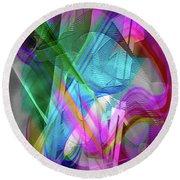 Round Beach Towel featuring the digital art Harp by Visual Artist Frank Bonilla