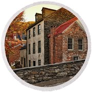 Harpers Ferry Back Street Round Beach Towel