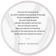 Haruki Murakami Quote 01 - Typewriter Quote - Minimal, Modern, Classy, Sophisticated Art Prints Round Beach Towel