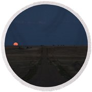 Round Beach Towel featuring the photograph Harvest Moon 1 by Carl Young