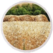 Round Beach Towel featuring the photograph Harvest Time In Idaho by Tatiana Travelways
