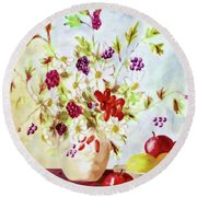 Harvest Time-still Life Painting By V.kelly Round Beach Towel