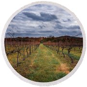 Harvested Grapevines Round Beach Towel