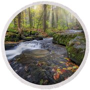 Round Beach Towel featuring the photograph Hatch Brook by Bill Wakeley