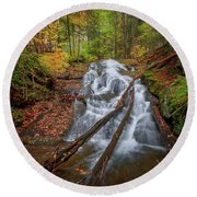 Round Beach Towel featuring the photograph Hatch Brook Falls Autumn by Bill Wakeley