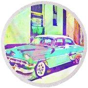 Havana, Cuba - Classic In Abstract Round Beach Towel