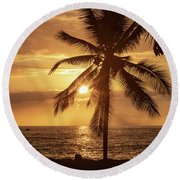 Hawaii Sunset Round Beach Towel