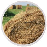 Round Beach Towel featuring the photograph Hay Bail Closeup by Tatiana Travelways