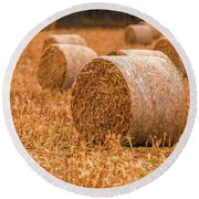 Round Beach Towel featuring the photograph Hay Rolls by Dan Sproul