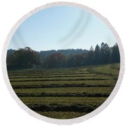Haymaking Round Beach Towel
