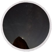 Haystack Night Under The Stars Round Beach Towel