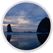 Haystack Rock At Dusk Round Beach Towel