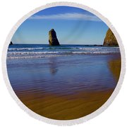 Haystack Rock Panoramic Round Beach Towel