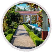 Hd Getty Pathway Villa California  Round Beach Towel
