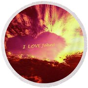 Heart 5 Round Beach Towel