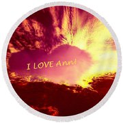 Heart Ann Round Beach Towel