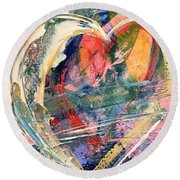 Round Beach Towel featuring the painting Heart Full Of Love by Robin Maria Pedrero