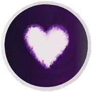 Heart Of Purple Round Beach Towel