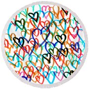 Round Beach Towel featuring the drawing Hearts by Bee-Bee Deigner