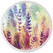 Heathers In Haze Round Beach Towel